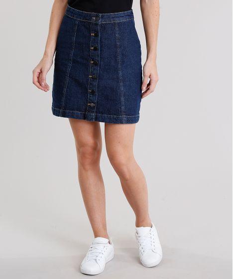 f93bca20d Saia Jeans Feminina Evasê com Botões Curta Azul Escuro - cea