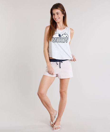 Pijama-Feminino-Snoopy--Cinza-Mescla-Escuro-9123171-Cinza_Mescla_Escuro_1