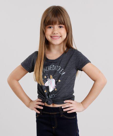 Blusa-Infantil-Unicornio-com-Bordado-de-Paetes-Manga-Curta-Decote-Redondo-Cinza-Mescla-Escuro-9168465-Cinza_Mescla_Escuro_1