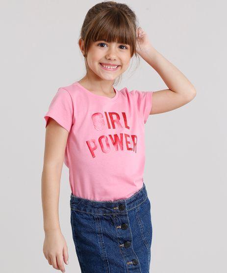 Blusa-Infantil--Girl-Power--Manga-Curta-Decote-Redondo-em-Algodao---Sustentavel-Rosa-9168467-Rosa_1