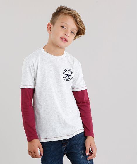 3b51f177a Camiseta Infantil com Sobreposição Manga Longa Decote Careca Cinza ...