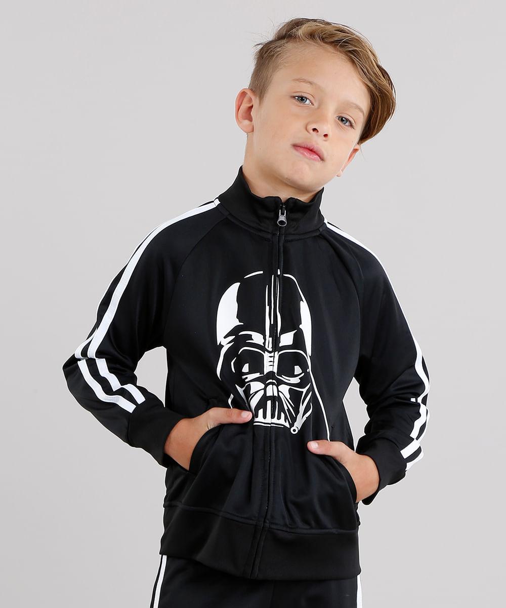 757a44b794 Jaqueta Infantil Darth Vader Esportiva com Listras Laterais em ...