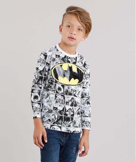 Camiseta Infantil Batman Estampada de Quadrinhos Manga Longa Gola ... b90b32e81109b