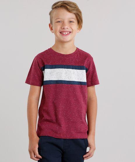 Camiseta-Infantil-com-Recortes-em-Listras-Manga-Curta-Decote-Careca-Vinho-9127574-Vinho_1