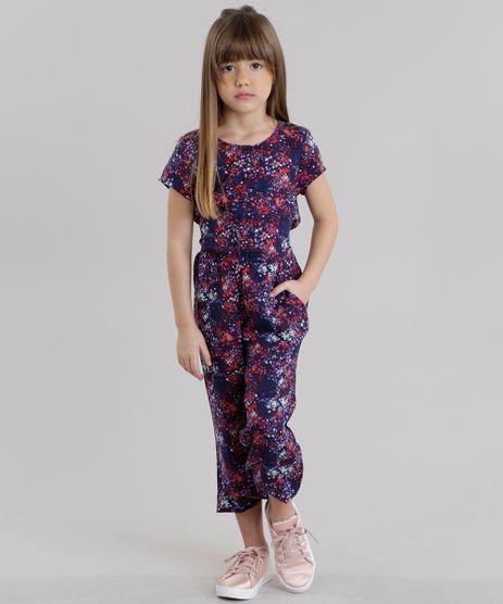 Macacao-Infantil-Estampado-Floral-com-Botoes-e-Laco-Manga-Curta-Azul-Marinho-8821970-Azul_Marinho_1
