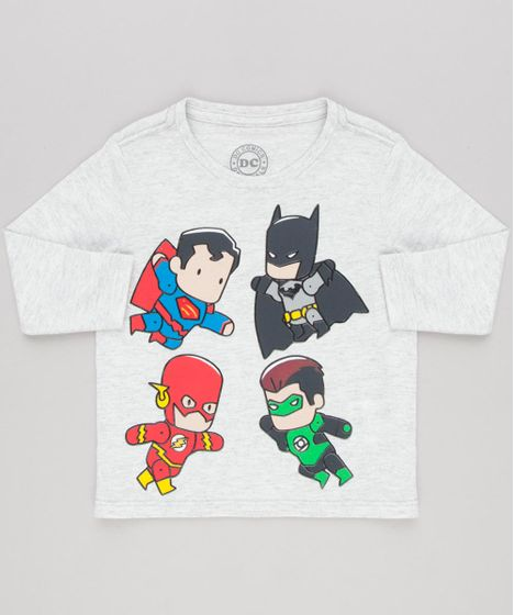 Camiseta Infantil Heróis Liga da Justiça Manga Longa Gola Careca ... 74088253f27