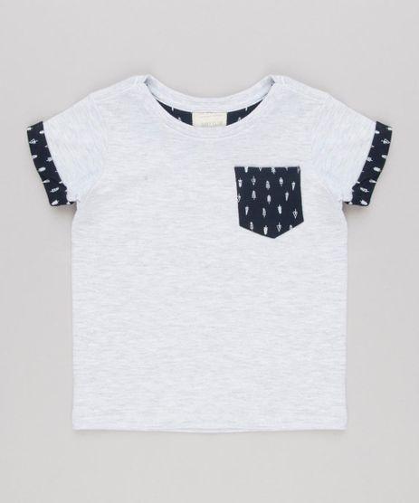 Camiseta-Infantil-com-Bolso-Estampado-Manga-Curta-Gola-Careca-em-Algodao---Sustentavel-Cinza-Mescla-Claro-9132287-Cinza_Mescla_Claro_1