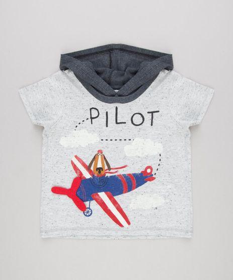 Camiseta-Infantil-com-Estampa-Interativa-Cachorro-com-Aviao-Manga-Curta-com-Capuz-Cinza-Mescla-Claro-9140336-Cinza_Mescla_Claro_1