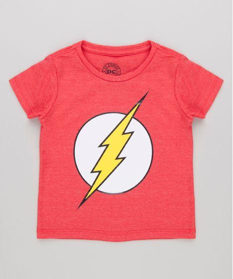 Camiseta Infantil The Flash Manga Curta Gola Careca Vermelha - cea 9b14793a417be