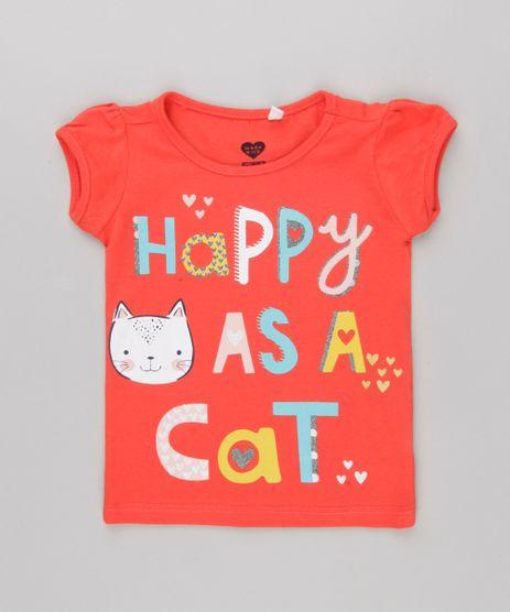 Blusa-Infantil--Happy--com-Glitter-Manga-Curta-Decote-Redondo-em-Algodao---Sustentavel-Vermelha-9146405-Vermelho_1
