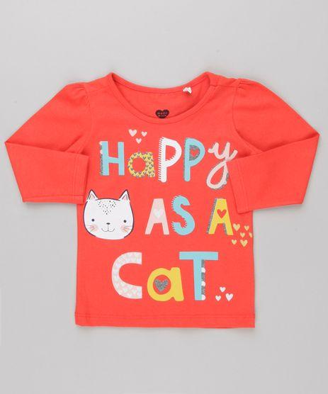 Blusa-Infantil--Happy--com-Glitter-Manga-Longa-Decote-Redondo-em-Algodao---Sustentavel-Vermelha-9145683-Vermelho_1