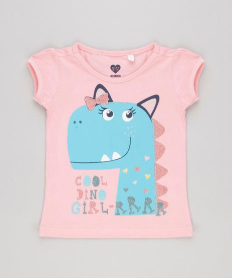 Blusa-Infantil-Dinossauro-com-Glitter-Manga-Curta-Decote-Redondo-em-Algodao---Sustentavel-Rosa-9146400-Rosa_1