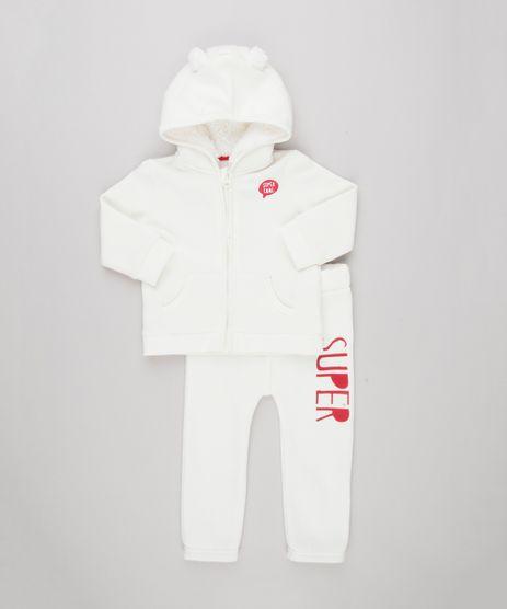 Conjunto-Infantil-de-Blusao-em-Moletom-com-Capuz-com-Pelo---Calca-em-Algodao---Sustentavel-Off-White-8909827-Off_White_1