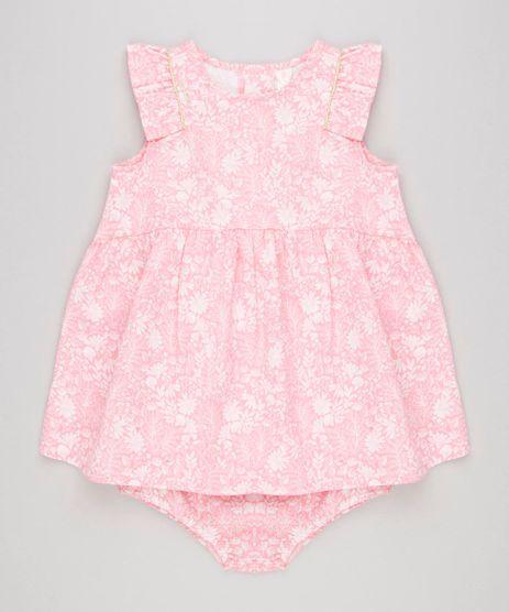 Vestido-Infantil-Estampado-Floral-com-Babados-Sem-Manga---Calcinha-em-Algodao---Sustentavel-Rosa-8935389-Rosa_1