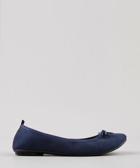 Sapatilha-Feminina-Bico-Redondo-em-Suede-com-Laco-Azul-Marinho-9185745-Azul_Marinho_1