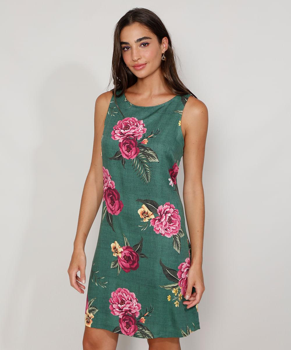 Vestido Feminino Curto Estampado Floral Sem Manga Verde