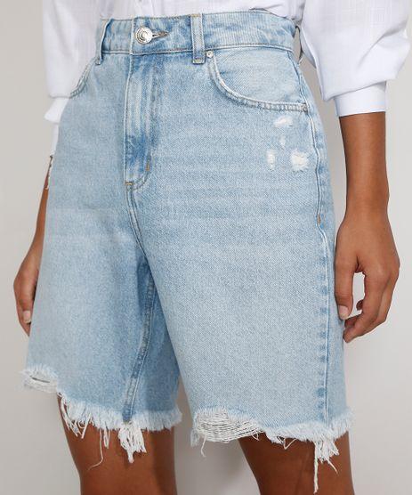 Bermuda-Jeans-Feminina-Cintura-Alta-Destroyed-Marmorizada-Azul-Claro-9985654-Azul_Claro_1