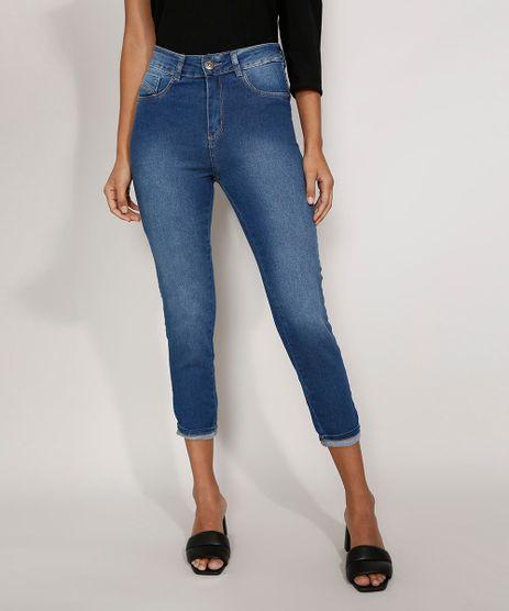 Calca-Jeans-Feminina-Cintura-Alta-Sawary-Cropped-Heart-com-Barra-Dobrada-Azul-Medio-9984360-Azul_Medio_1