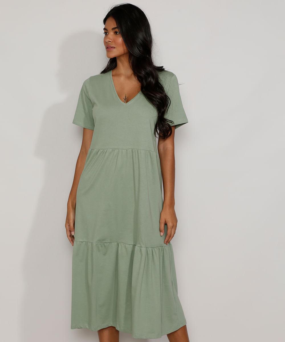 Vestido Feminino Midi com Recortes Manga Curta Verde