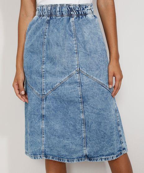 Saia-Jeans-Feminina-Midi-Marmorizada-com-Recortes-Azul-Medio-9982409-Azul_Medio_1
