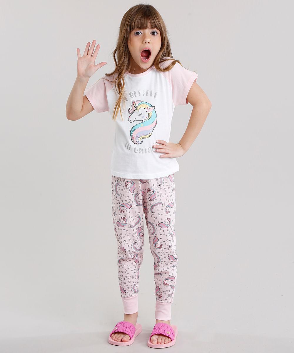 d1b9741b4 Pijama Infantil Raglan com Estampa de Unicórnio Manga Curta Gola ...