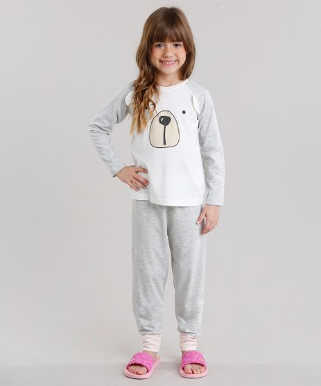 Pijama-infantil-Urso-Raglan-com-Manga-Longa-Cinza-Mescla-Claro-9132473-Cinza_Mescla_Claro_1