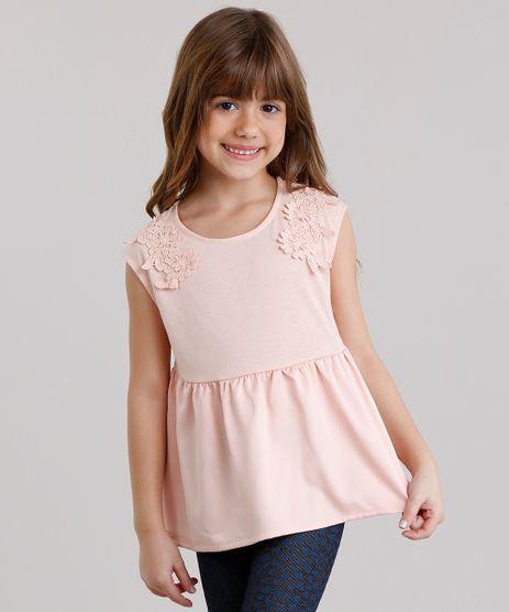 Regata-infantil-Acetinada-com-Renda-Decote-Redondo-em-Algodao---Sustentavel-Rose-8922295-Rose_1