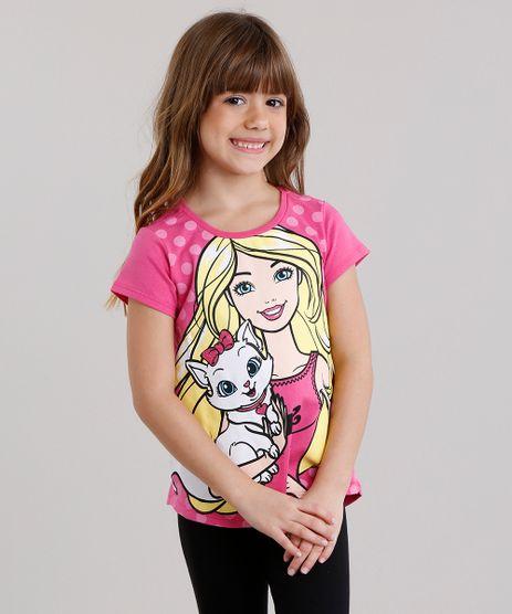 Blusa-Infantil-Barbie-com-Glitter-Manga-Curta-Decote-Redondo-em-Algodao---Sustentavel-Pink-9137509-Pink_1