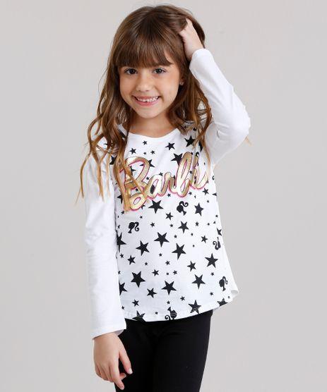 Blusa-Infantil-Barbie-com-Estampa-de-Estrelas-Manga-Longa-Decote-Redondo-em-Algodao---Sustentavel-Off-White-9137851-Off_White_1