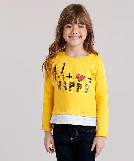 Blusa-Infantil---Happy--com-Paetes-e-Sobreposicao-Decote-Careca-Manga-Longa--Amarela-9132419-Amarelo_1
