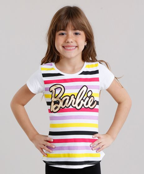 Blusa-Infantil-Barbie-com-Estampa-Listrada-Manga-Curta-Decote-Redondo-em-Algodao---Sustentavel-Off-White-9137510-Off_White_1