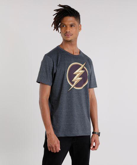 Camiseta-Masculina-The-Flash-Manga-Curta-Gola-Careca-Cinza-Mescla-Escuro-9142493-Cinza_Mescla_Escuro_1