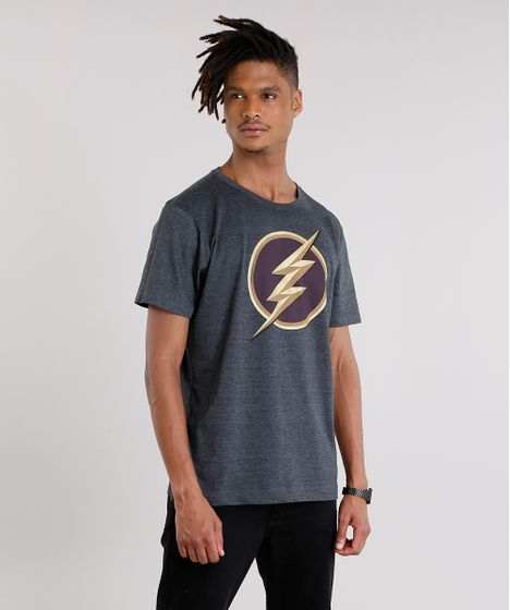 21bbf41dda Camiseta Masculina The Flash Manga Curta Gola Careca Cinza Mescla ...