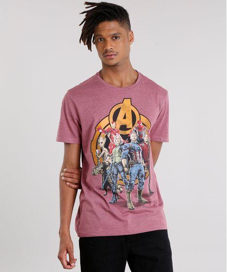 0a7537b5c7 Camiseta Masculina Heróis Os Vingadores Manga Curta Gola Careca ...