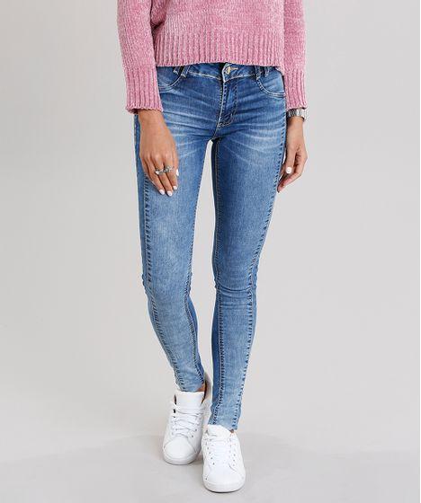 c7a856de19 Calça Jeans Feminina Super Skinny Sawary Levanta Bumbum Azul Médio - cea