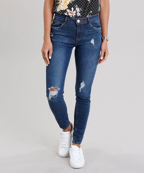 Calca-Jeans-Feminina-Cigarrete-Destroyed-com-Ziper-na-Barra-Azul-Escuro-9113397-Azul_Escuro_1