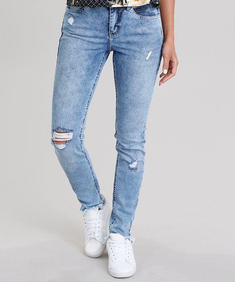 Calca-Jeans-Feminina-Cigarrete-Destroyed-com-Barra-Desfiada-Azul-Claro-9006247-Azul_Claro_1
