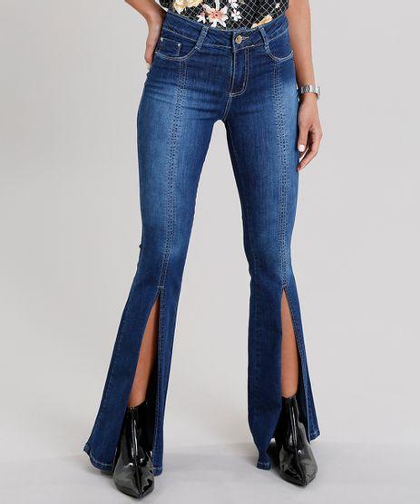 Calca-Jeans-Feminina-Flare-Sawary-com-Fenda-na-Barra-Azul-Escuro-9135600-Azul_Escuro_1