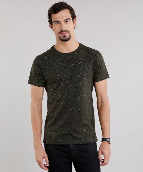 Camiseta-Masculina-Slim-Fit-Estampada-de-Respingos-Manga-Curta-Gola-Careca-Verde-Militar-9115993-Verde_Militar_1