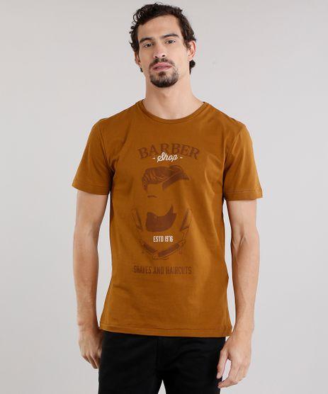 Camiseta-Masculina--Barber-Shop--Manga-Curta-Decote-Careca-em-Algodao---Sustentavel-Caramelo-9165157-Caramelo_1