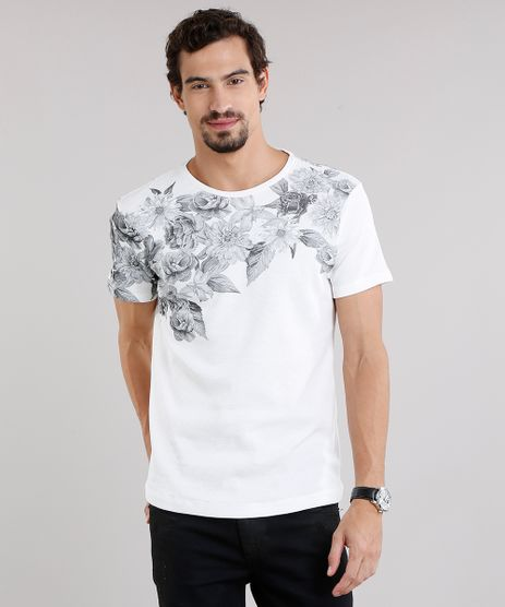 Camiseta-Masculina-Slim-Fit-com-Estampa-Floral-em-Piquet-Manga-Curta-Decote-Careca-Off-White-9085557-Off_White_1