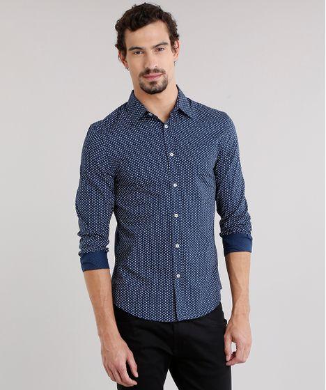 Camisa Masculina Slim Mini Estampada Manga Longa Azul Marinho - cea 864c0769edb3b