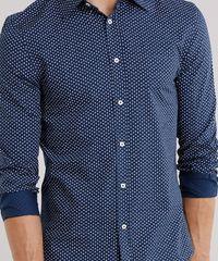 ... Camisa-Masculina-Slim-Estampada-de-Folhagem-Manga-Longa-. Camisa  Masculina Slim Mini Estampada Manga Longa Azul Marinho 47bbfefb87edf