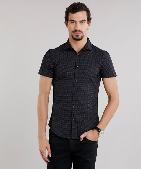 Camisa-Masculina-Slim-Estampada-Manga-Curta-Preta-8856198-Preto_1