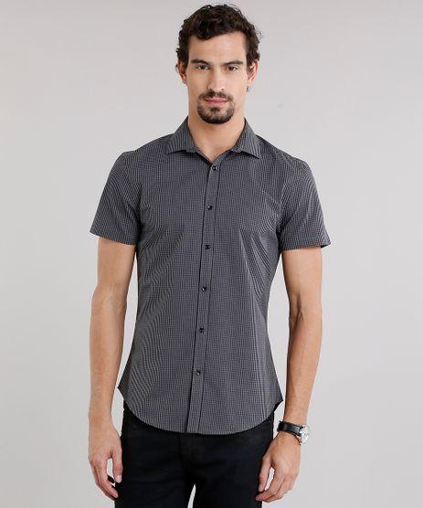 Camisa-Masculina-Slim-Xadrez-Manga-Curta-Preta-8856251-Preto_1