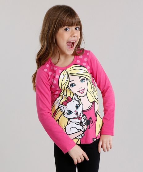 Blusa-Infantil-Barbie-com-Glitter-Manga-Longa-Decote-Redondo-em-Algodao---Sustentavel-Pink-9137849-Pink_1