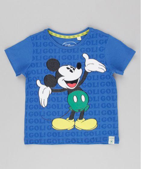 3e6fce1e51 Camiseta Infantil Mickey Copa do Mundo Manga Curta Gola Careca Azul Royal -  cea