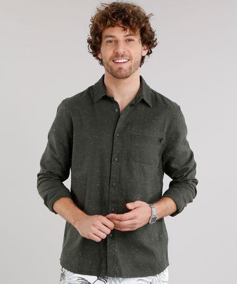 Camisa-Masculina-em-Flanela-Botone-com-Bolso-Manga-Longa-Verde-Militar-8880195-Verde_Militar_1