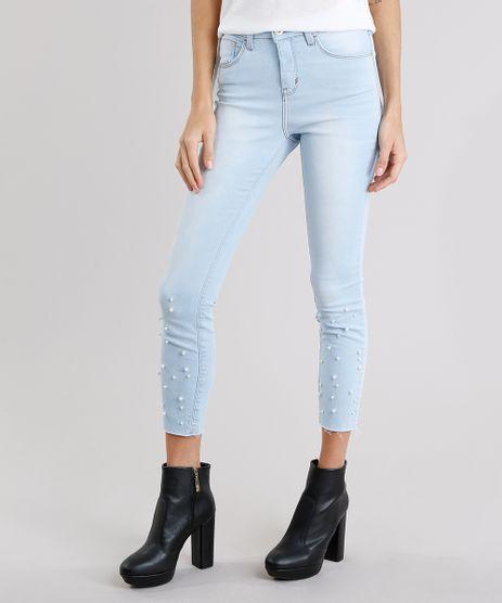 Calca-Jeans-Feminina-Super-Skinny-com-Perolas-Cintura-Alta-Azul-Claro-9191479-Azul_Claro_1