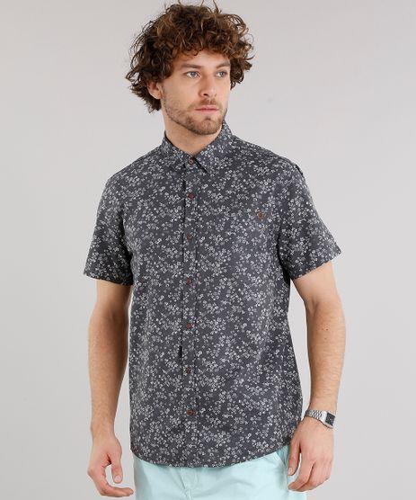 Camisa-Masculina-Estampada-Floral-com-Bolso-Manga-Curta-Chumbo-9101652-Chumbo_1